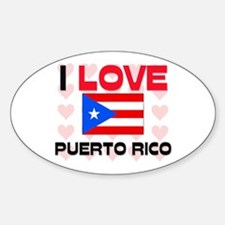 I Love Puerto Rico Oval Decal