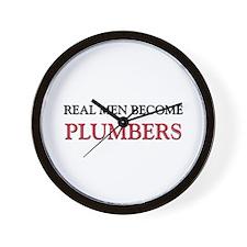Real Men Become Plumbers Wall Clock