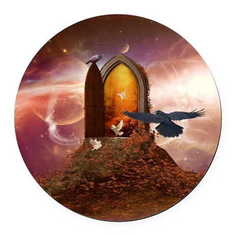 Mystical door in the universe Round Car Magnet