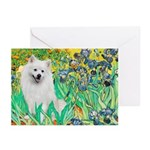 Irises / Eskimo Spitz #1 Greeting Cards (Pk of 10)