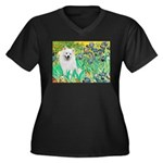 Irises / Eskimo Spitz #1 Women's Plus Size V-Neck