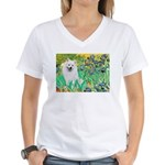Irises / Eskimo Spitz #1 Women's V-Neck T-Shirt