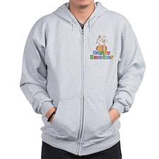 Happy Easter Artist Bunny Zip Hoodie