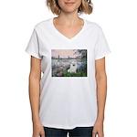 Seine / Eskimo Spitz #1 Women's V-Neck T-Shirt