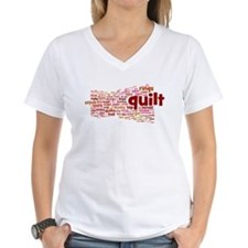 Women's V-Neck Quilt Wordle Shirt