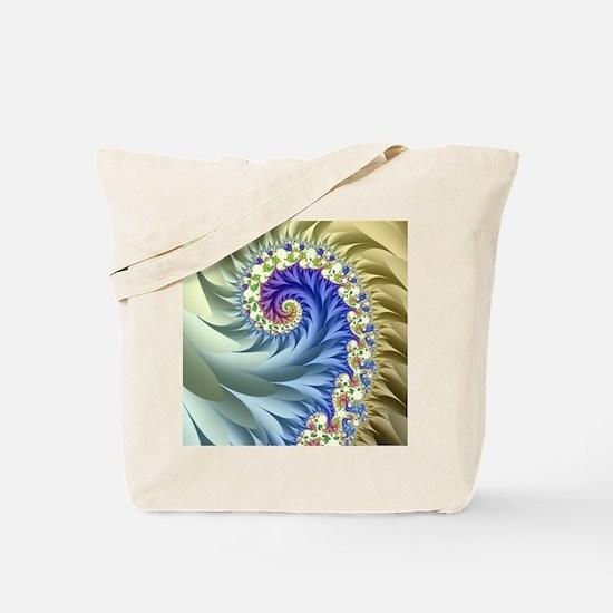 Feathered Mandelbrot Spiral Tote Bag