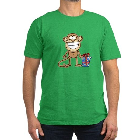 Monkey and Gift Men's Fitted T-Shirt (dark)