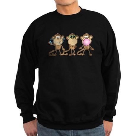 Hear See Speak No Evil Monkey Sweatshirt (dark)