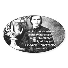 Critic of Religion: Nietzsche Oval Decal