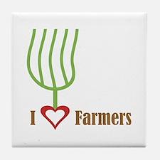 I Heart Farmers Tile Coaster