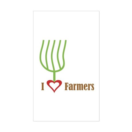 I Heart Farmers Rectangle Sticker