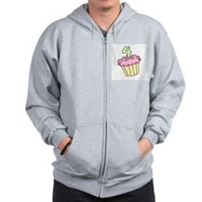 4th Birthday Cupcake Zip Hoodie