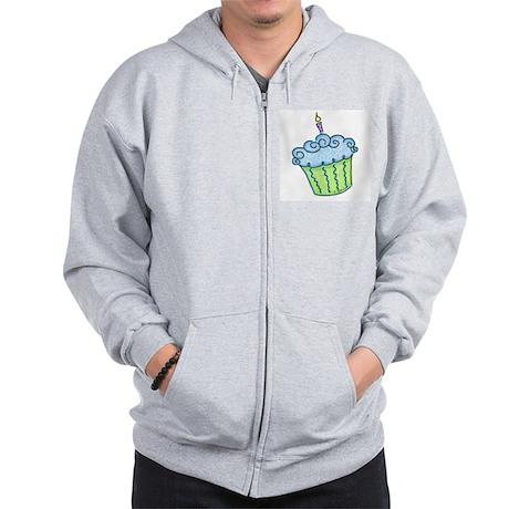 Cute Cupcake (blue) Zip Hoodie