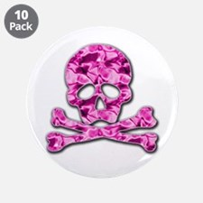 "Pink skull 3.5"" Button (10 pack)"