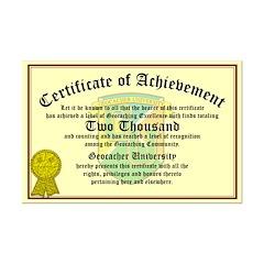 Certificate of Achievement - 2000 Finds!