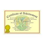 Certificate of Achievement - 3000 Finds!