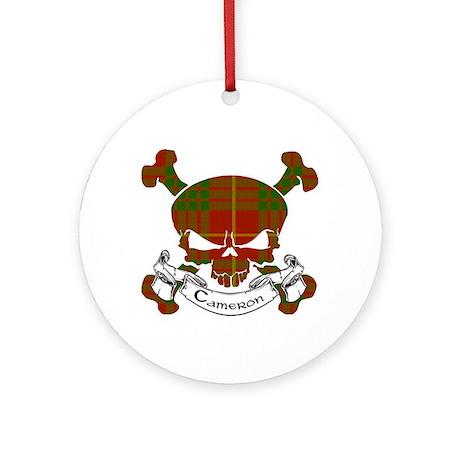 Cameron Tartan Skull Ornament (Round)