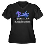 Baby - Coming Soon! Women's Plus Size V-Neck Dark