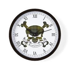 Campbell Tartan Skull Wall Clock