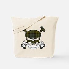 Campbell Tartan Skull Tote Bag