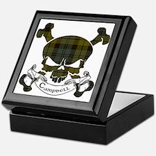 Campbell Tartan Skull Keepsake Box
