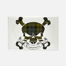 Campbell Tartan Skull Rectangle Magnet