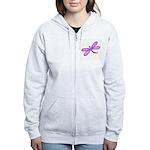 Pink and Lavender Dragonfly Women's Zip Hoodie