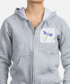 Whimsical Blue Dragonfly Zip Hoodie