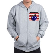 American Flag Ferret Stars & Stripes Zip Hoodie