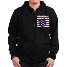 American Flag Ferret Stars & Stripes Zip Hoodie