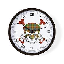 Chattan Tartan Skull Wall Clock