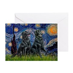 Starry / Two Flat Coated Ret Greeting Card