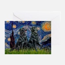 Starry / Two Flat Coated Ret Greeting Cards (Pk of