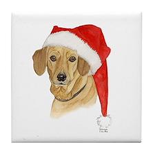Dachshund Christmas Tile Coaster