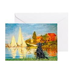Sailboats / Flat Coated Retri Greeting Card