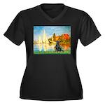 Sailboats / Flat Coated Retri Women's Plus Size V-