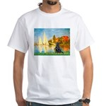 Sailboats / Flat Coated Retri White T-Shirt
