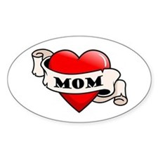Mom Tattoo Heart Oval Decal