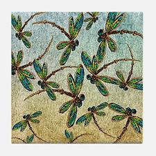 Golden Dragonfly Light Tile Coaster