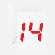 14 fourteen red alarm clock n Greeting Card
