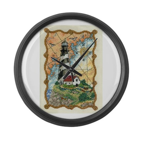 Lighthouse Cross-Stitch Large Wall Clock