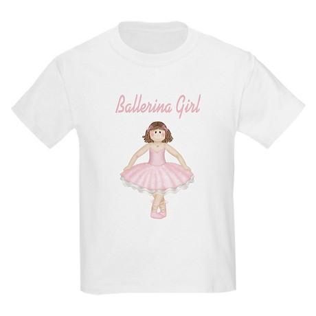 Brunette Ballerina Girl Kids Light T-Shirt