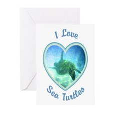 I Love Sea Turtles Greeting Cards (Pk of 10)