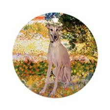 Greyhound in Van Gogh's Garden Ornament (Round)