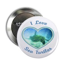 "I Love Sea Turtles 2.25"" Button"