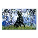 Lilies / Flat Coated Retrieve Sticker (Rectangle 5