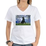 Lilies / Flat Coated Retrieve Women's V-Neck T-Shi