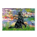 Lilies / Flat Coated Retrieve Postcards (Package o