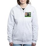 Lilies / Flat Coated Retrieve Women's Zip Hoodie