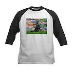 Lilies / Flat Coated Retrieve Kids Baseball Jersey